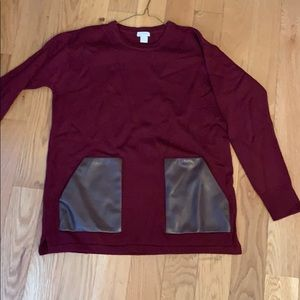 Jcrew maroon long sweater with leather pockets
